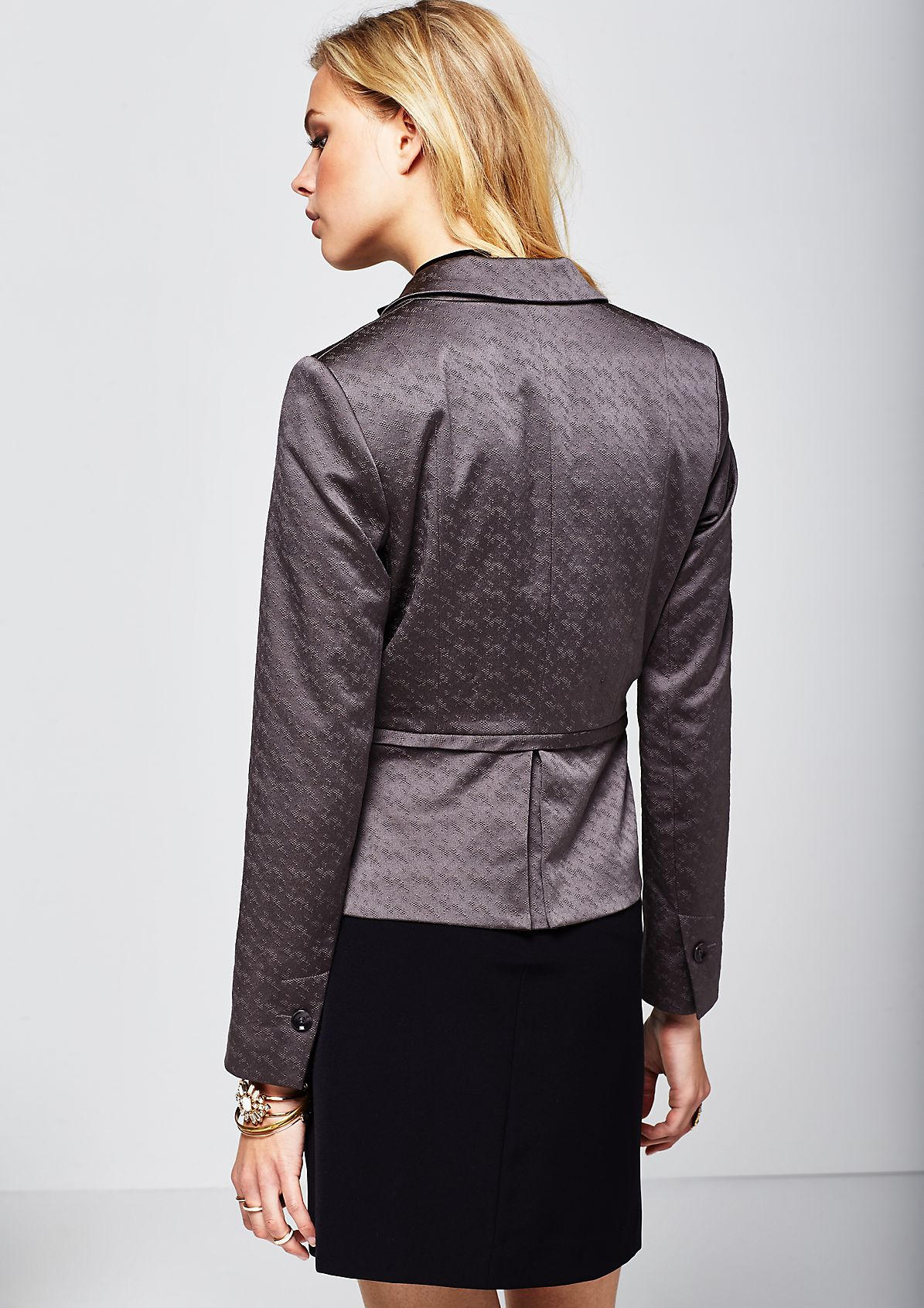 Fine business blouse with a decorative tone-in-tone jacquard pattern from s.Oliver