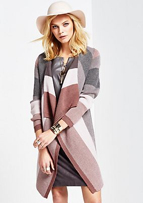 Soft, long cardigan in a striped look from s.Oliver