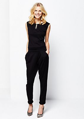 Glamorous jumpsuit with an elegant gemstone trim from s.Oliver