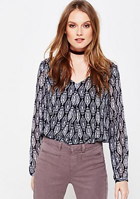 Delicate crêpe blouse with a beautiful all-over pattern from s.Oliver