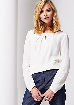 Smart-casual blouse made of crêpe with long sleeves from s.Oliver