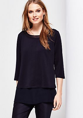 Extravagant 3/4-sleeve crêpe blouse in a layered look from s.Oliver