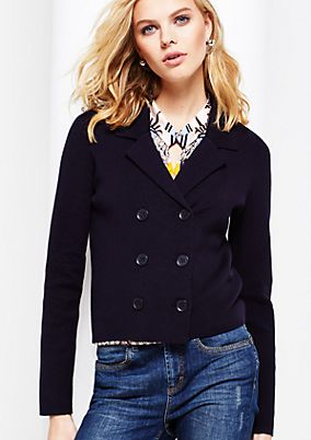 Short knit blazer in a double-breasted style from s.Oliver