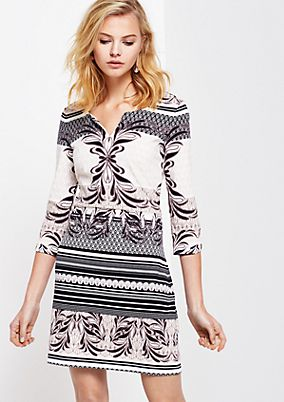 Sporty dress with 3/4-length sleeves and a decorative all-over print from s.Oliver