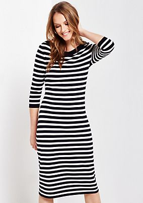 Casual 3/4-sleeve dress with a decorative striped pattern from s.Oliver