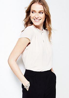 Delicate short sleeve blouse with a beautiful ruched trim from s.Oliver