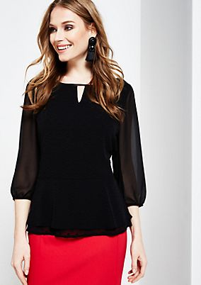 Elegant 3/4-sleeve blouse with a fine tone-in-tone pattern from s.Oliver