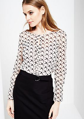 Delicate long sleeve mesh top with a decorative all-over print from s.Oliver
