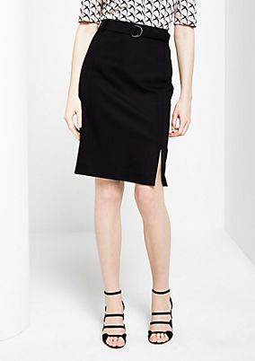 Elegant satin skirt with a narrow belt from s.Oliver