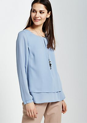 Elegant long sleeve mock layer blouse from s.Oliver