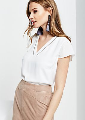 Delicate chiffon blouse with jewellery trim from s.Oliver