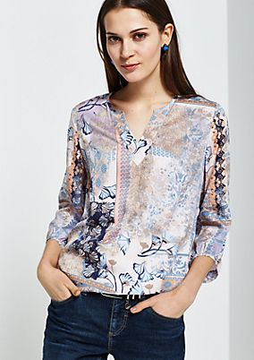 Lovely blouse with 3/4-length sleeves and an elaborate all-over print from s.Oliver