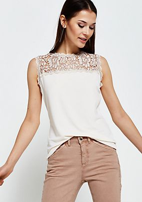 Fine jersey top with delicate lace trimming from s.Oliver