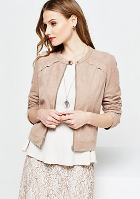 Sporty velour jacket in a trendy biker look from s.Oliver