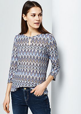 Extravagant jumper with 3/4-length sleeves in a colourful crocheted look from s.Oliver
