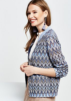Summery knit bomber jacket with a colourful pattern from s.Oliver