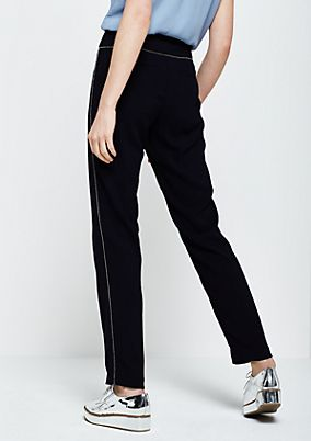 Extravagant business trousers with decorative ball embellishments from s.Oliver