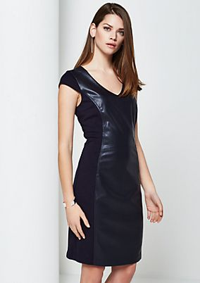 Elegant business dress with faux leather inlays from s.Oliver