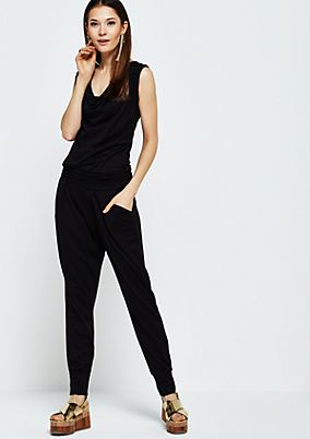 Lightweight jersey jumpsuit with a waterfall collar from s.Oliver