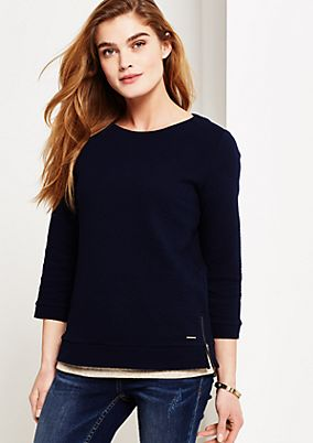 Casual top with 3/4-length sleeves and a decorative textured print from s.Oliver
