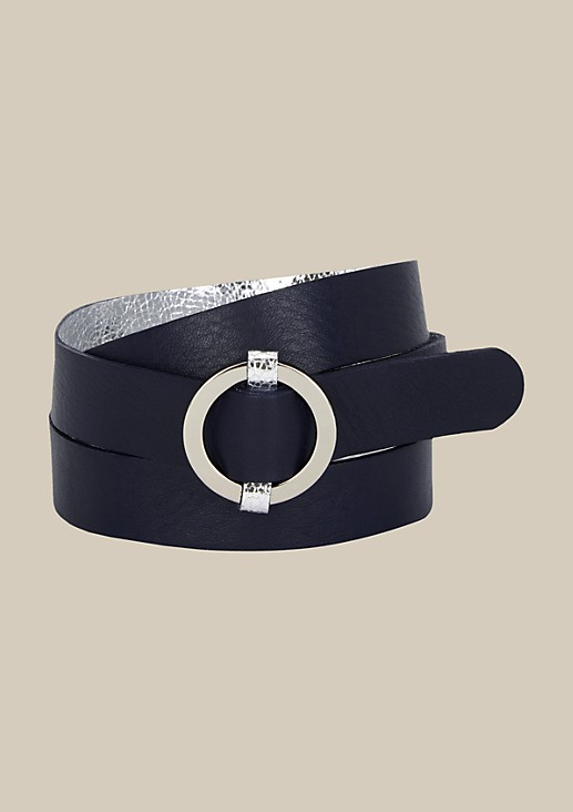 Elegant belt with a shiny silvery finish from s.Oliver