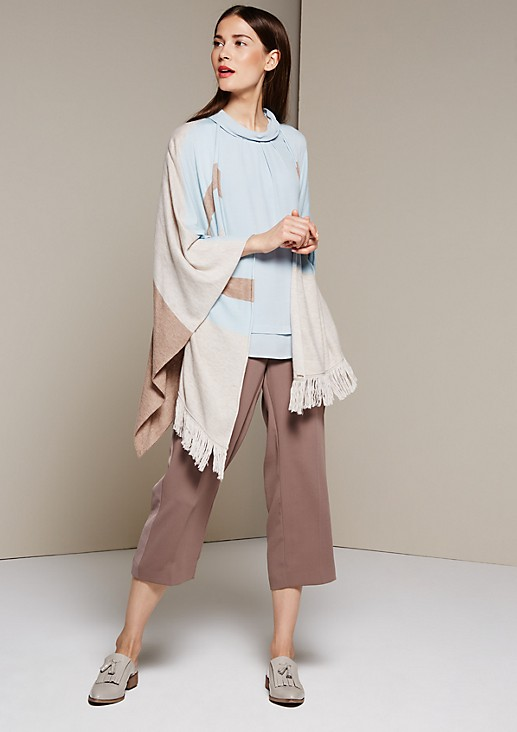Smart knit poncho with fringing from s.Oliver