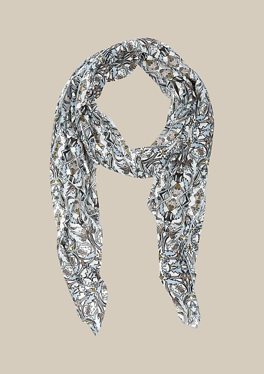Asymmetric crêpe scarf with an attractive pattern from s.Oliver