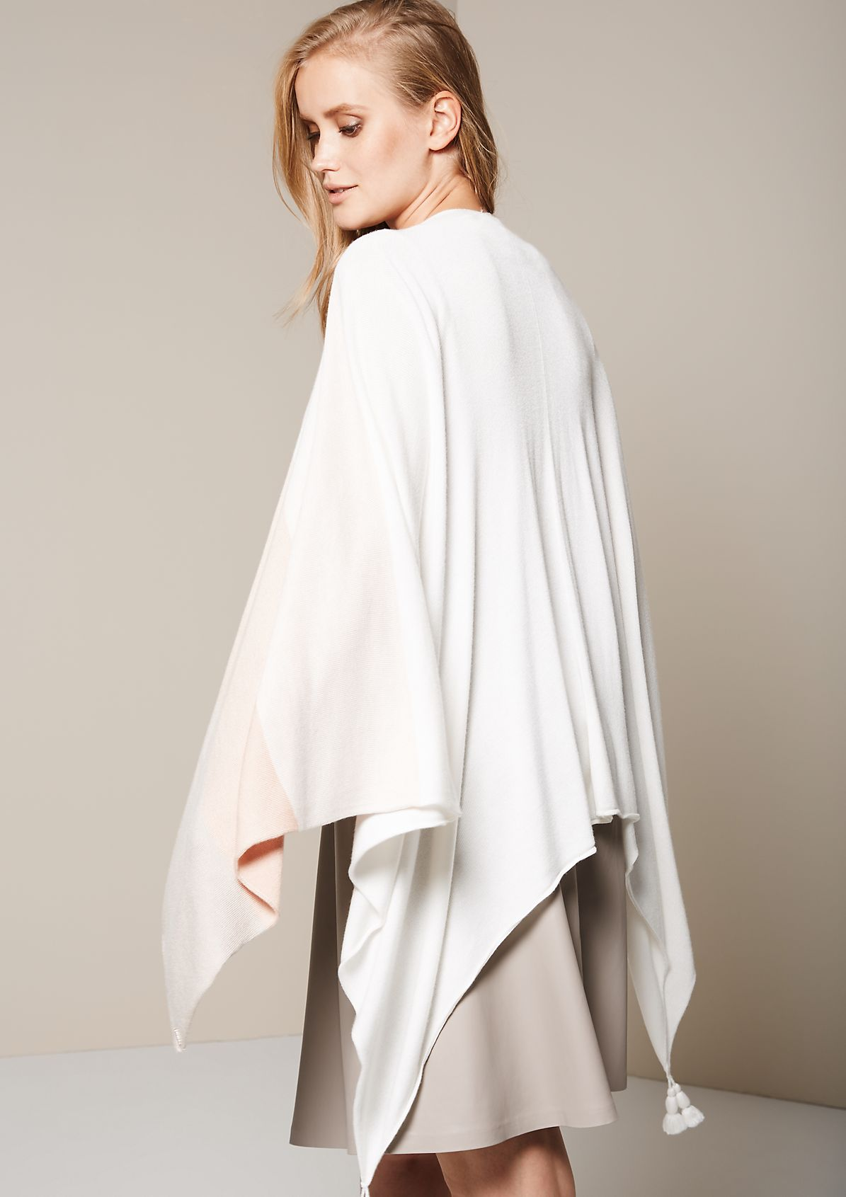 Soft knit poncho with a colour block pattern from s.Oliver