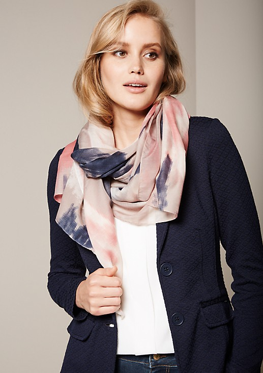 Delicate poplin scarf with an abstract all-over print from s.Oliver