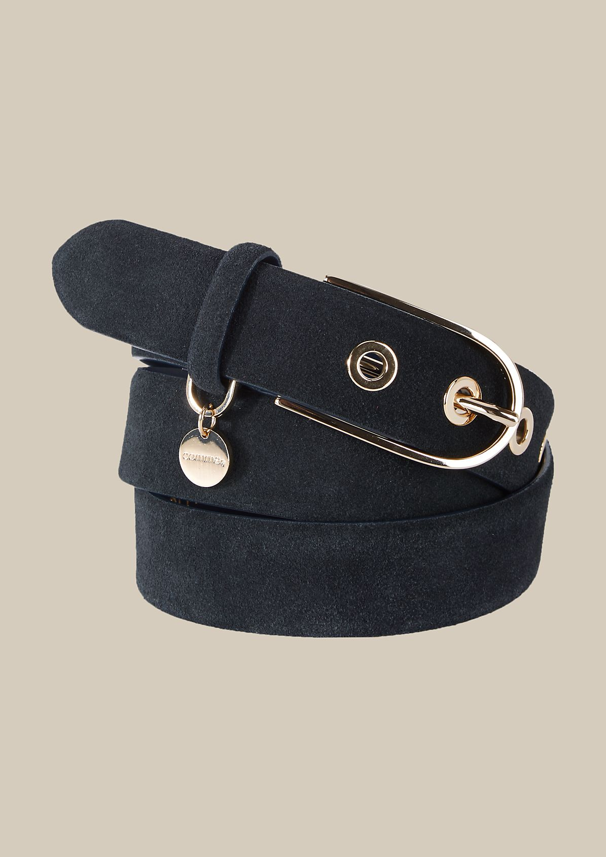 Wide leather belt with a suede finish from s.Oliver
