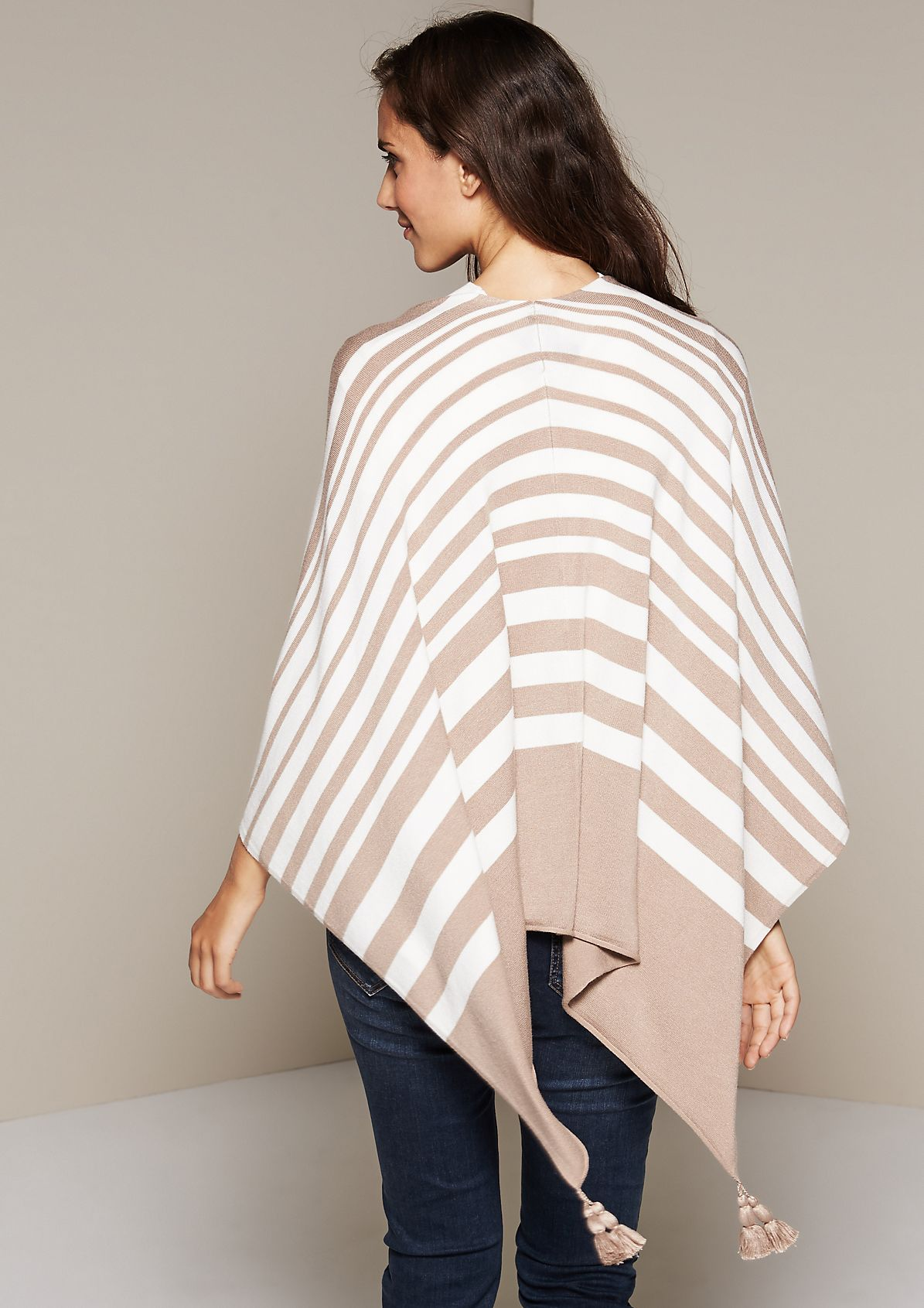 Lightweight knitted poncho with a beautiful striped pattern from s.Oliver