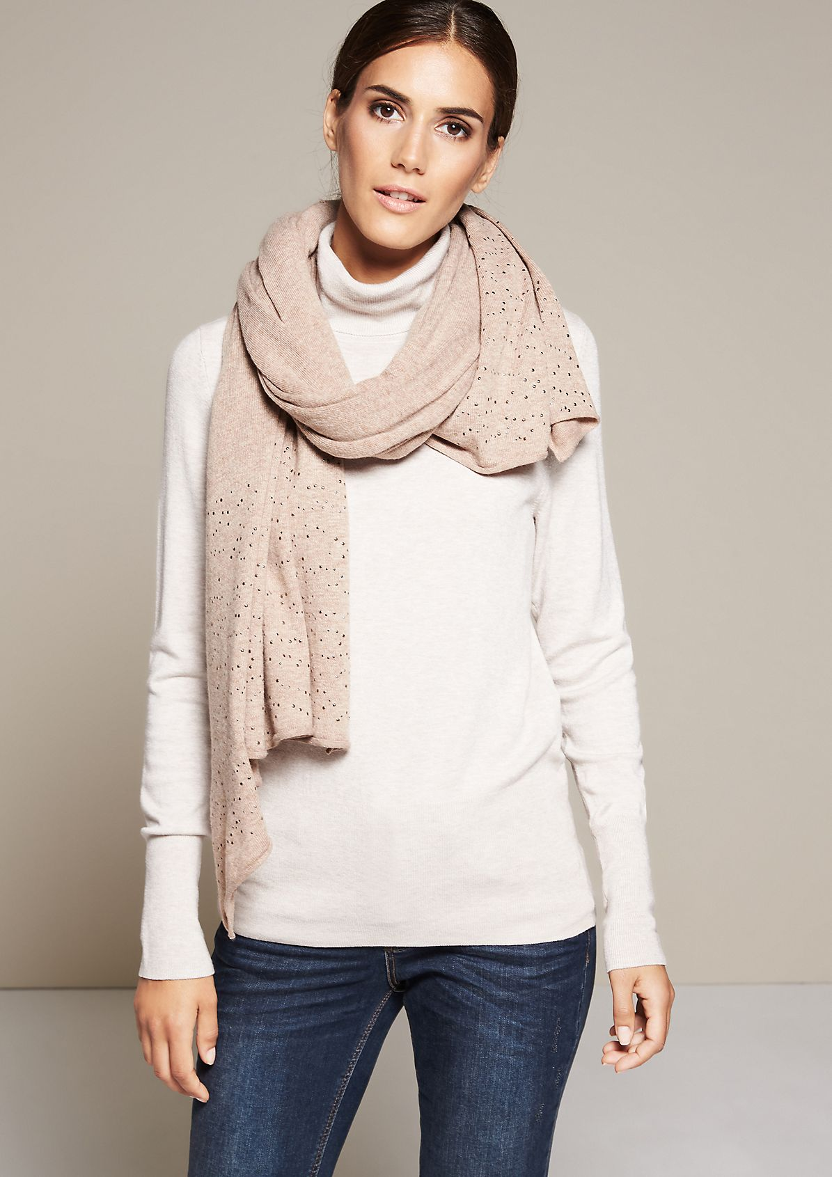 Beautiful winter scarf with decorative flat studs from s.Oliver