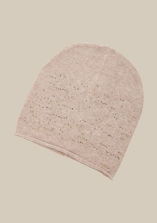 Warm knit hat with a decorative flat studded trim from s.Oliver