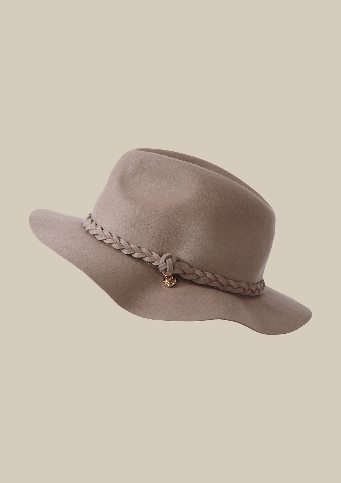Smart felt hat with a woven hat band from s.Oliver