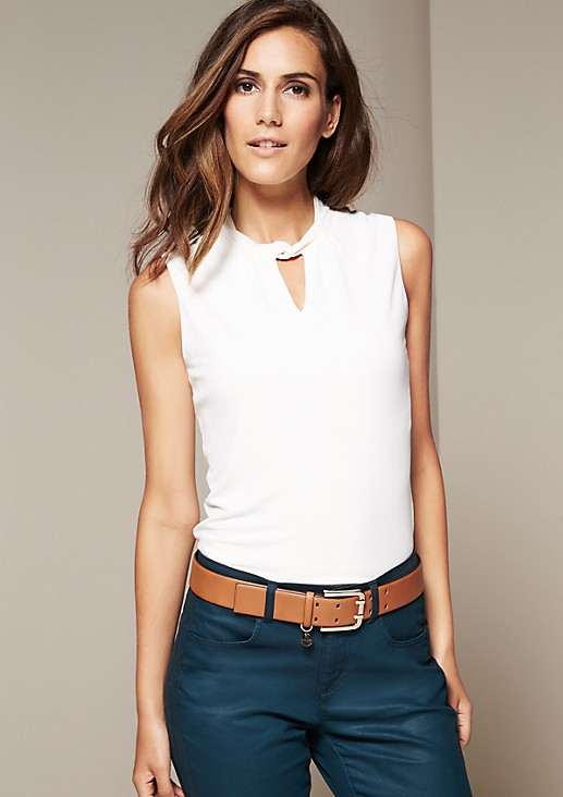 Wide leather belt with a double-pinned buckle from s.Oliver