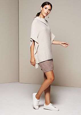 Smart knit poncho with roll collar from s.Oliver