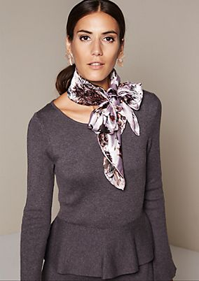 Matte shiny satin scarf with a beautiful pattern from s.Oliver