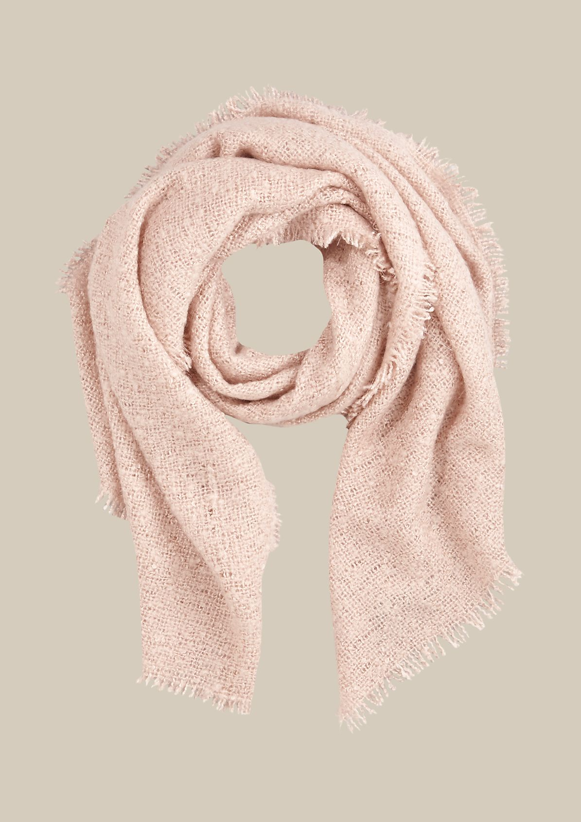 Warm chunky knit scarf with fringing from s.Oliver
