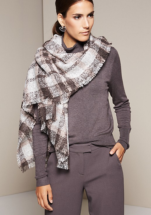 Cosy chunky knit check scarf from s.Oliver