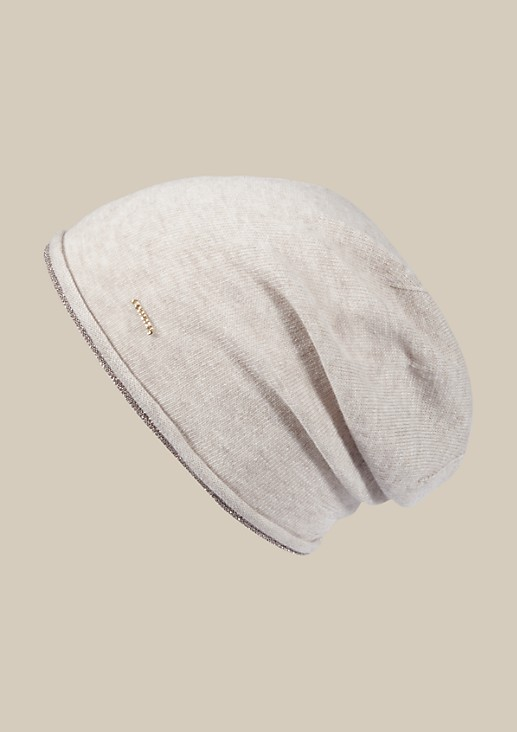 Soft knitted hat with a decorative glitter trim from s.Oliver