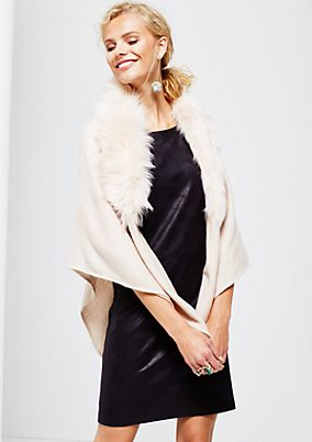 Double-layered knitted poncho with a cosy fake fur trim from s.Oliver