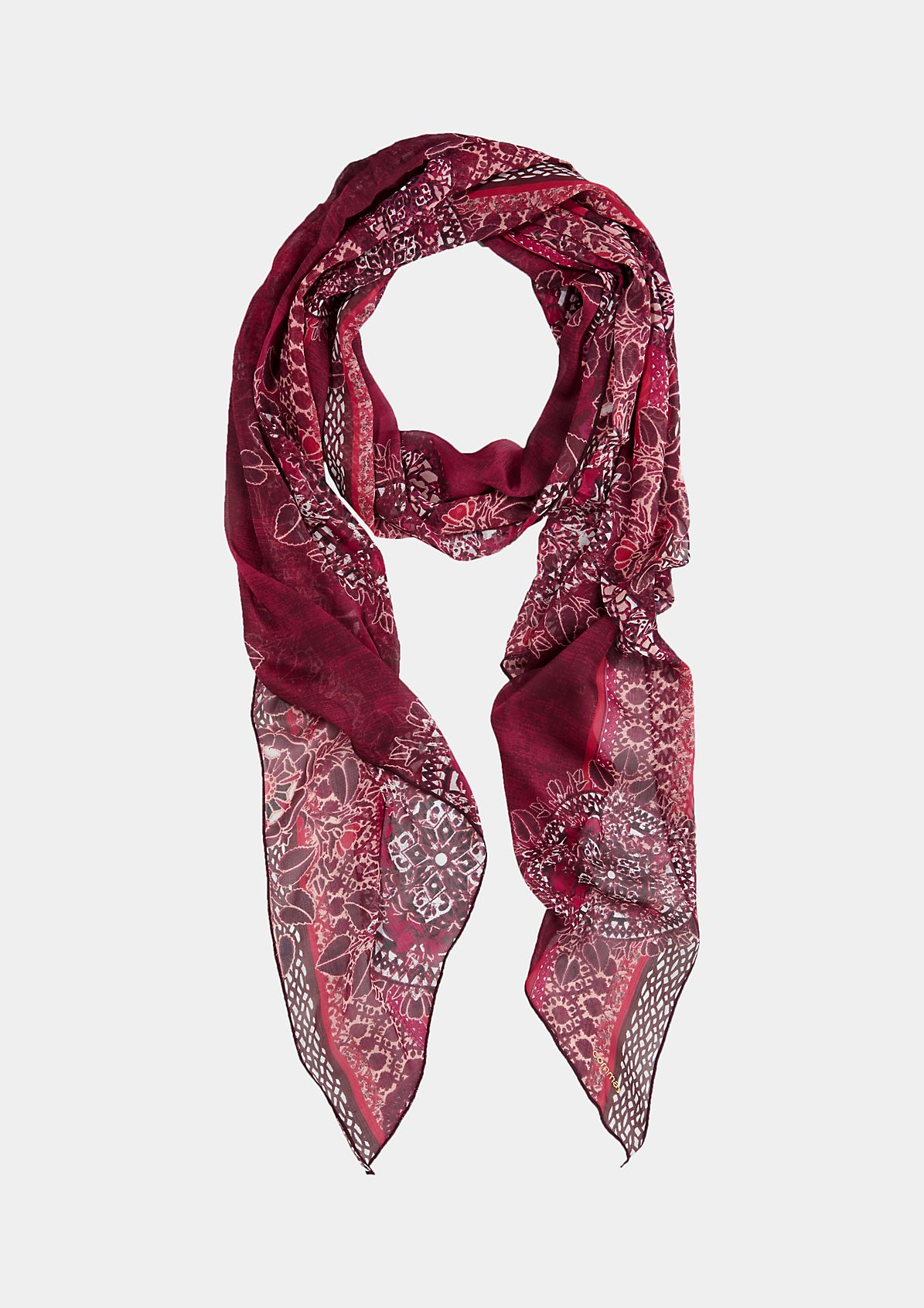 Delicate poplin scarf with a colourful all-over pattern from s.Oliver