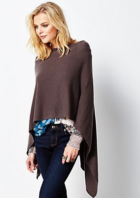 Classic knitted poncho with a sparkling gemstone trim from s.Oliver