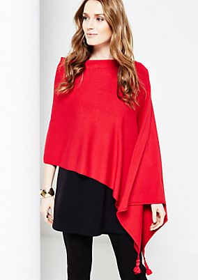 Classic poncho with tassels from s.Oliver