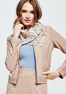 Soft triangular scarf with extensive lace embellishments from s.Oliver