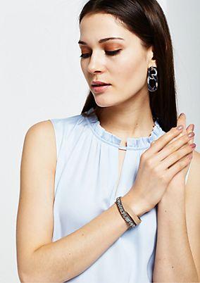 Faux leather bracelet embellished with gemstones from s.Oliver