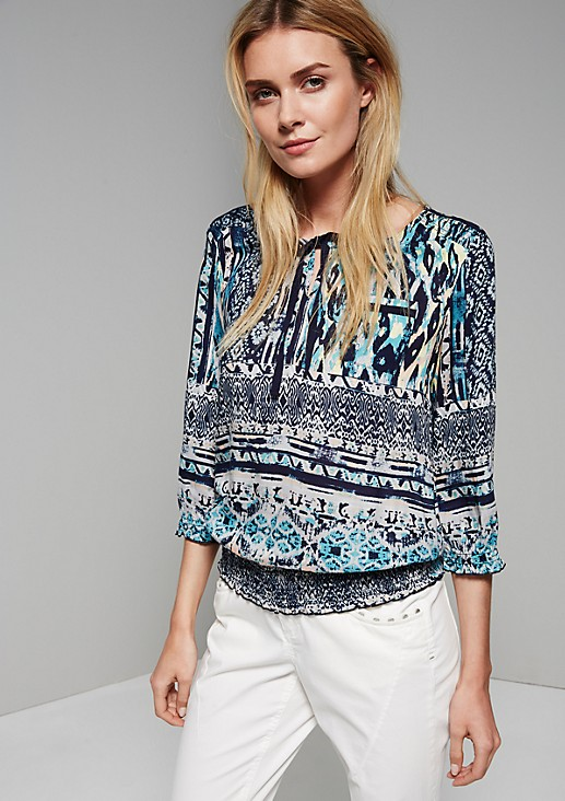 Pretty blouse with 3/4-length sleeves and an all-over ethnic print from s.Oliver