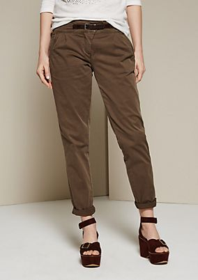 Lightweight chinos with a mock belt from s.Oliver