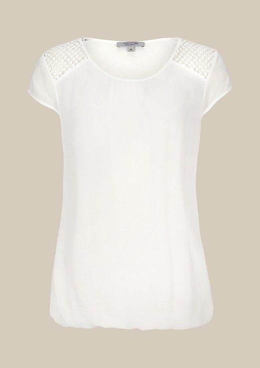 Beautiful short sleeve blouse with attractive lace decoration from s.Oliver