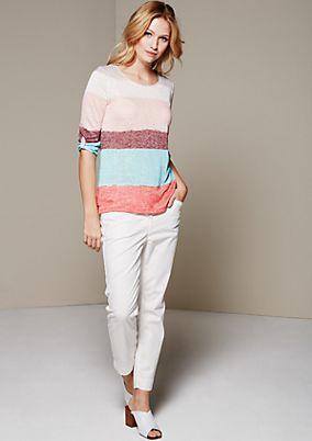 Summery knit top with a colour block design and 3/4-length sleeves from s.Oliver